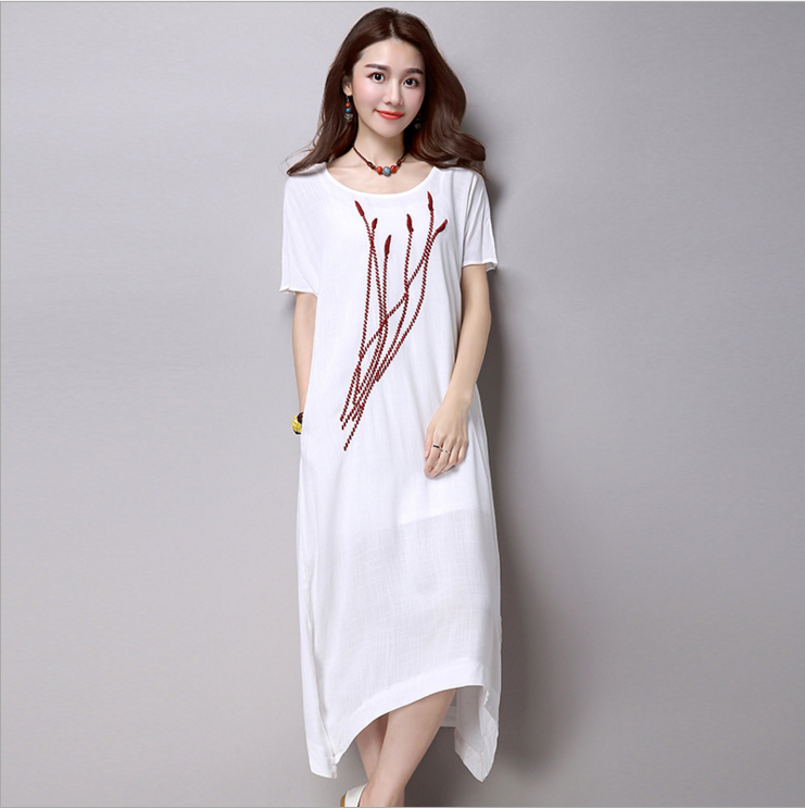 Short sleeve embroidery loose cotton and linen restoring ancient ways the a-line dress
