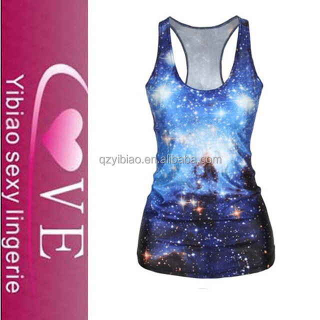 wholesale good quality galaxy pattern tank tops womens vest