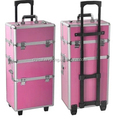 professional makeup train case,red makeup trolley case