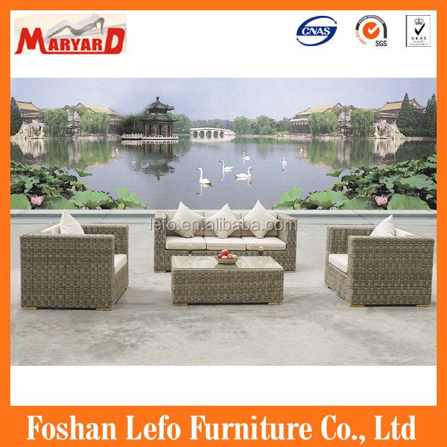 luxury patio furniture, rattan wicker terrace set, patio sofa for garden(LEFO)