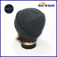 HZM-12222003 Thinsulate 3M plain warmer cotton lining ladies grey winter kintted black baseball mens winter hats fashion