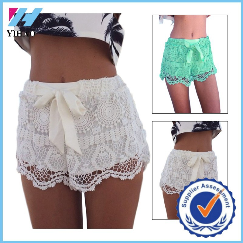 Trade Assurance Yihao New Women Lace Crochet Elastic Waist Sexy Beach Hot Shorts