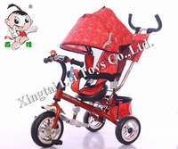 Popular children tricycle kids 3 wheeler pedal car with canopy&brake/Baby Tricycle 4 in 1/Cheap Kid Tricycle with double pushbar