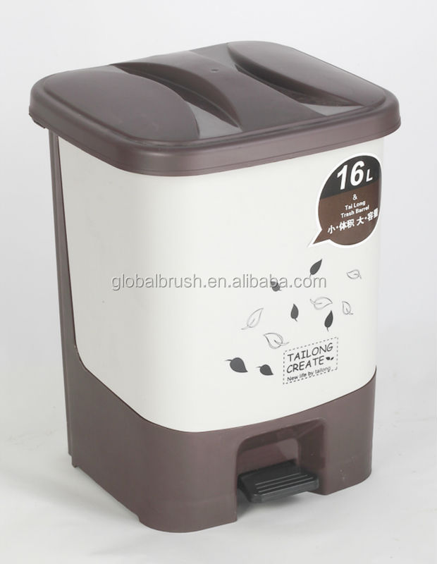 HQ2365 office cleaning tools 16L indoor plastic dustbin pedal dustbin with cover
