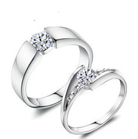 Wedding ring platinum plated Romantic CZ couple rings silver wedding ring free shipping