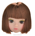 plastic baby girl doll head with hair (high quality)