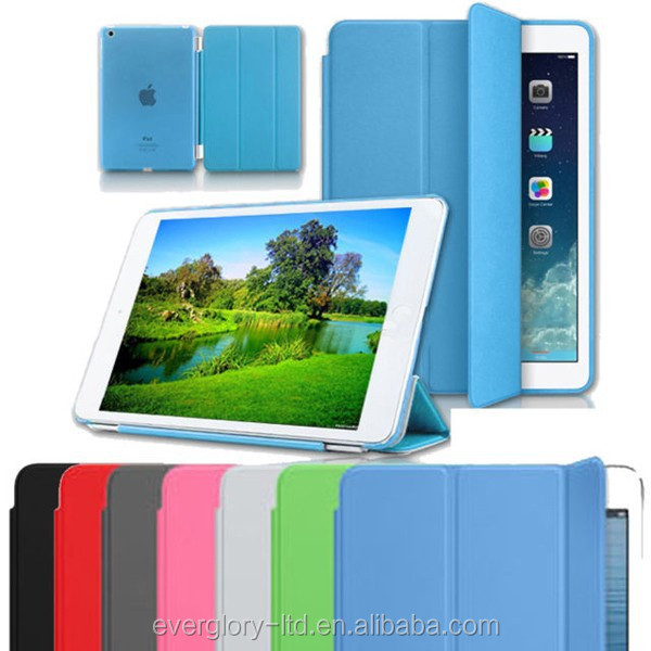 Ultra Thin Magnetic Smart Cover PU Leather Case for Apple iPad Mini/Mini2 Crystal TPU Hard Back Cover Folding Stand Case