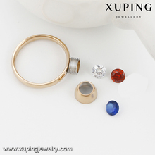 13782-Xuping 3 Color CZ Stone Interchangeable Stainless Steel Newest Rings For 18k