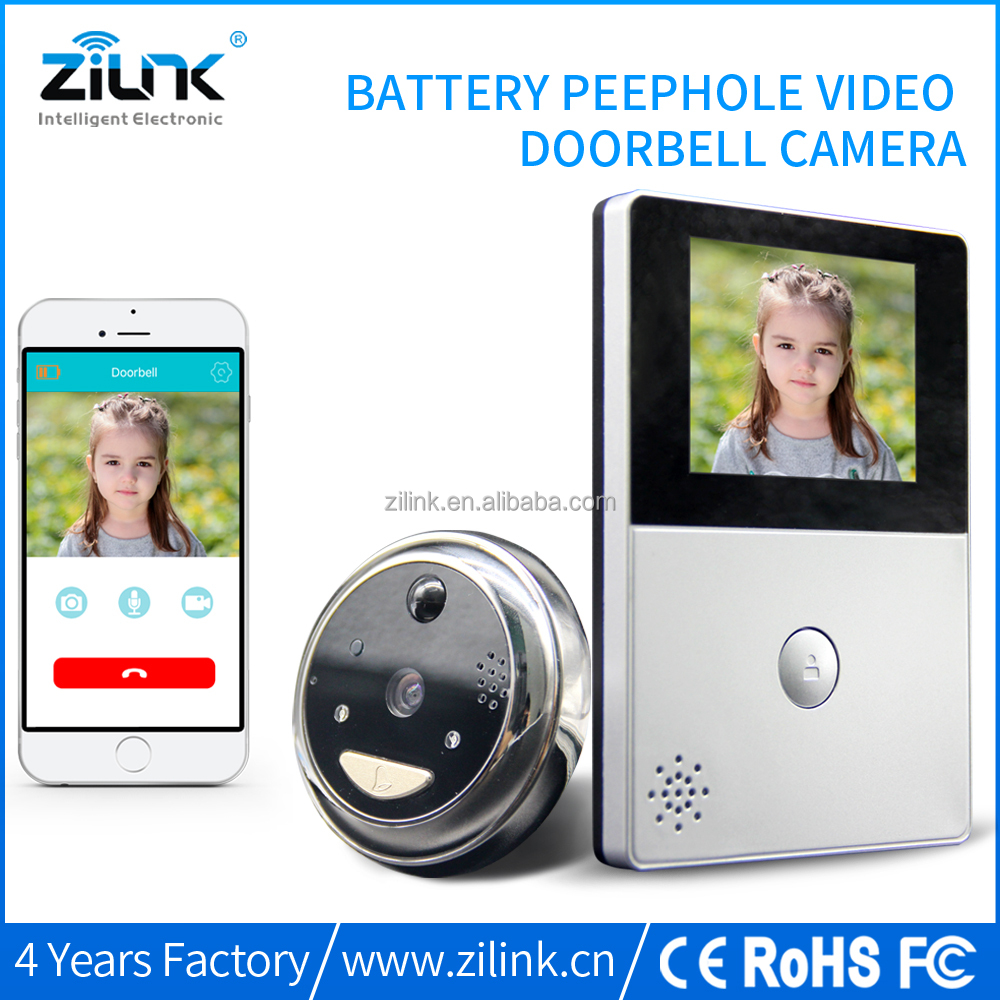 Peephole doorbell with indoor screen, battery power HD 720P wireless door bell wifi camera lcd