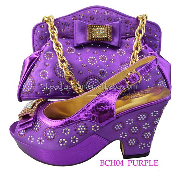 BCH04 purple color shoes matching bags / fashion for ladies italian style shoes matching bags/ popular matching shoes bags