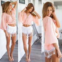 14993 Hot Sale 2015 Spring Summer Fashion Batwing Sleeve V-Neck Sexy Women Tops Short T-Shirt