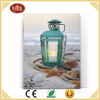 BES seascape beauty flicker light picture led chandelier canvas