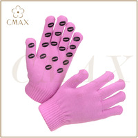 Competitive price pink rubber print anti-slip fashion knitted magic glove