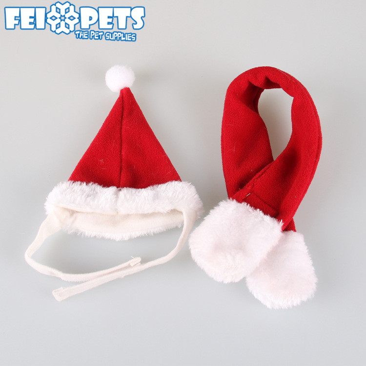 Fancy Dog Christmas Accessories Set Custom Red Pet Hat and Scarf Two Pack