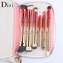 2017 Beauty Trends Cosmetic Makeup Brush Set Crystal Portable 6pcs Double Heads Cosmetic Brush Kit