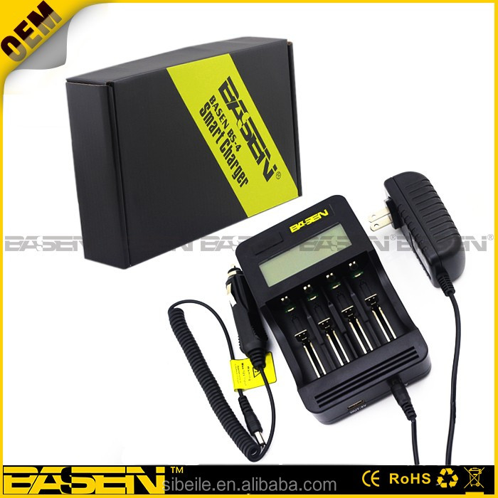 New BASEN BS4 Smart intelligent DC/AC USB 18650 26650 battery charger for 18650 18600 18350 26650 AA AAA AAAA