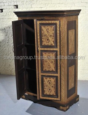 Wooden antique wardrobe almirah from India