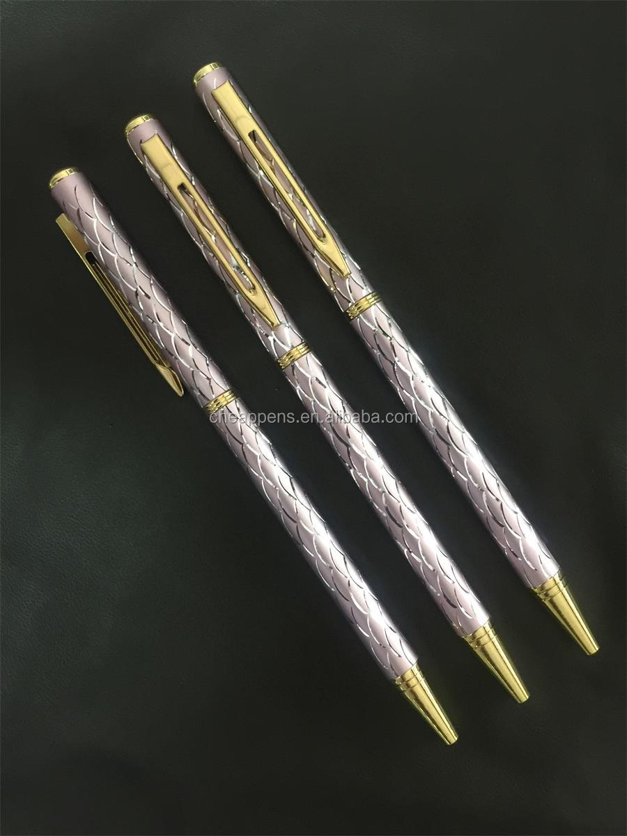 Ladies Sparkle Metal ball pen With barrel engraving