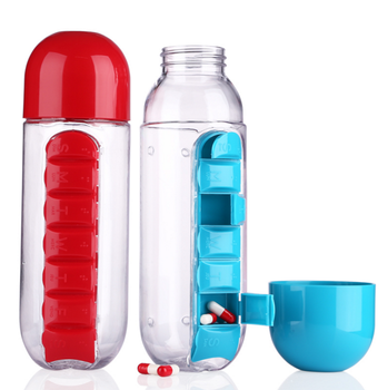 PC Plastic Water Bottle With Daily Pill Box Organizer Drinking Bottles