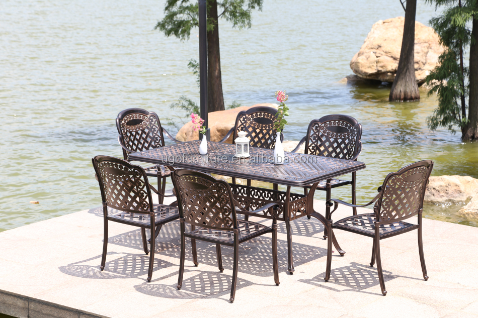Cast Aluminum Patio Sets/Patio Garden Furniture/Cast Aluminum Table with 6 seater