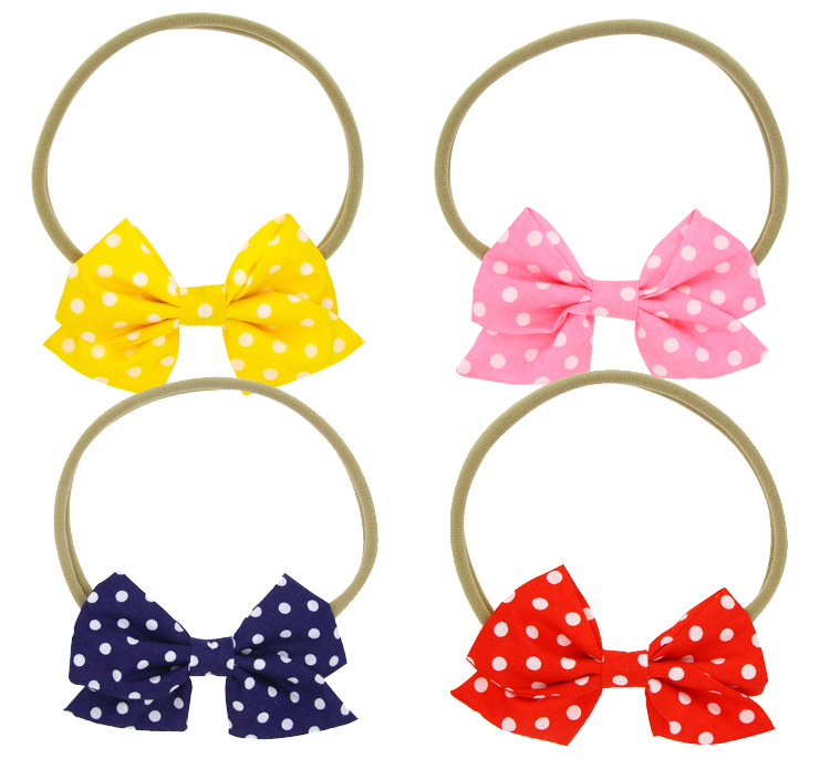 Sweety Baby Girls Printed Little Bow Stretch Headwear Infant Toddler Nylon Elastic Headbands A709