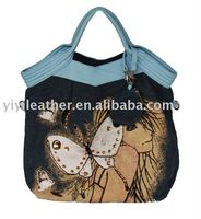 8651-Hot sale designer lady bag denim tote handbag with butterfly printing fashion summer ladies handbag 2014