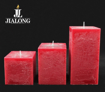 square shaped candle red color for dinner and christmas decoration candles