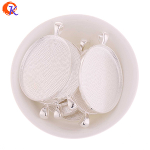 Silver 42x31MM Edge Round Simple Trays Cabochon Setting Pendant Blank Tray Jewelry Accessories Top Quality Style For Woman