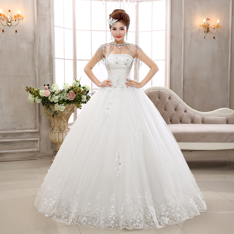 Bridal Diamond Tube Top lace Princess women wedding dress with big bow 2015