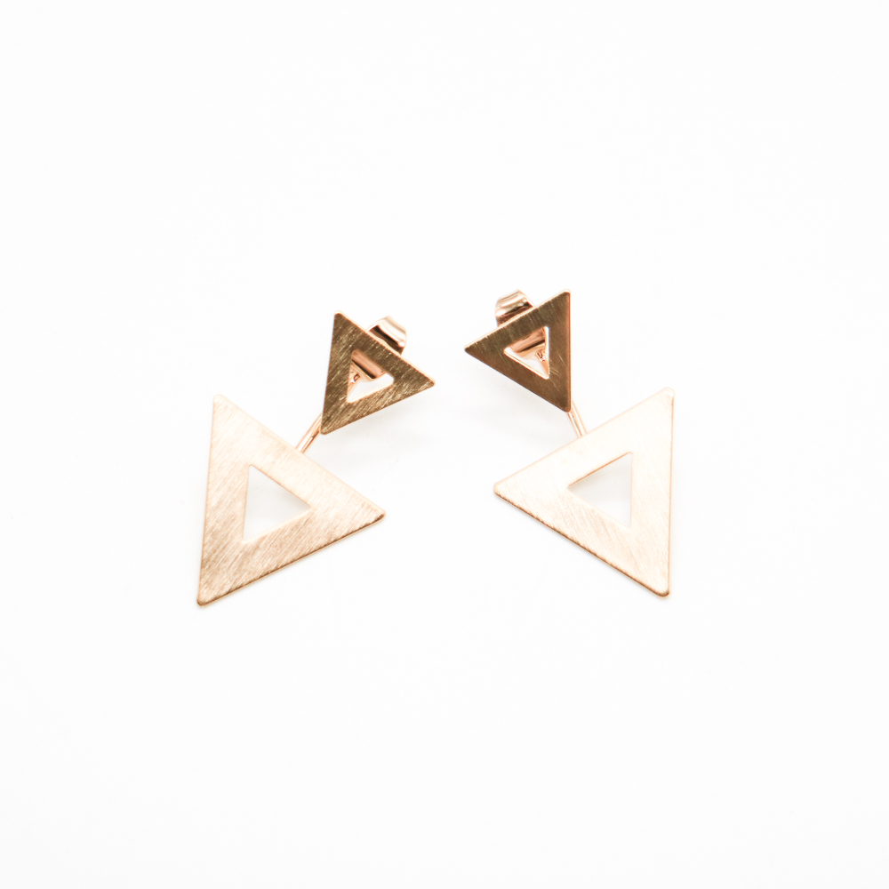 double triangle office lady ear studs best selling fashion jewelry earring 2017
