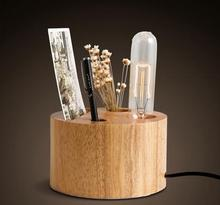 modern unique style wooden pen holder study table lamp ymtD