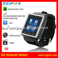 Hot sell touch screen WCDMA WiFi GPS android 3G phone watch