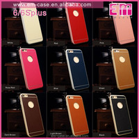 Real Leather Aluminium Metal Bumper Case For i phone6