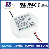 120V ac to 36V dc 900mA constant current dimmable led driver power supply with Triac dimming,UL CUL CE approval