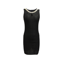 New Collection Polyester Lace Spandex Ladies Women Sleeveless Black Color Cocktail Dress with Front Keyhole and Neck Accessory