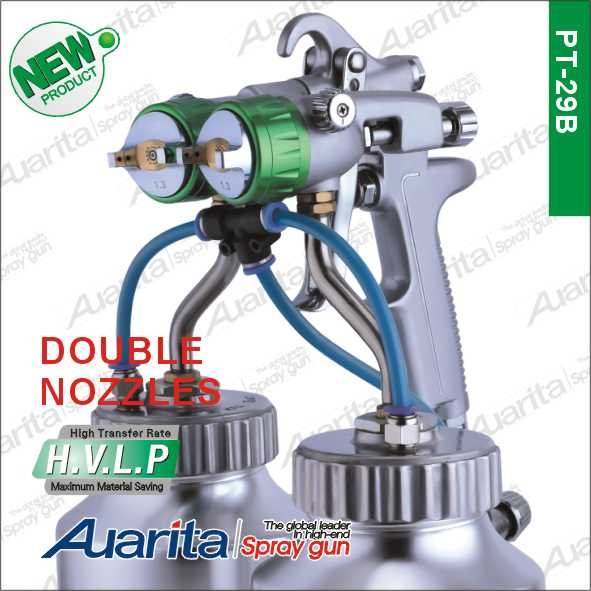 pressure feed double nozzle spray gun PT-29B Good Quality