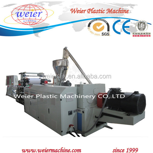 PVC furniture edge band production line with slitting online hot stamping or three color printing