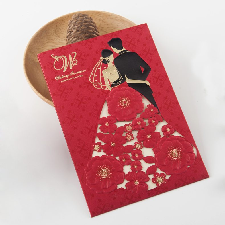 Hope to see you there custom printing Chinese wedding invitation card
