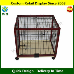 Portable Wood Pet Kennel Dog Cage Animal Crate w/ Wheels YM5-1344