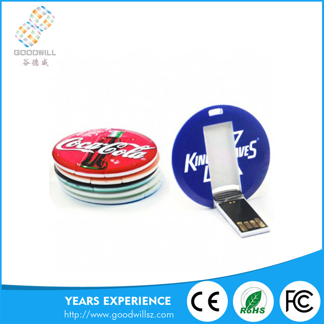 Free Logo Round Usb Driver Custom Credit Card Usb Flash Pen drive with Customized Logo