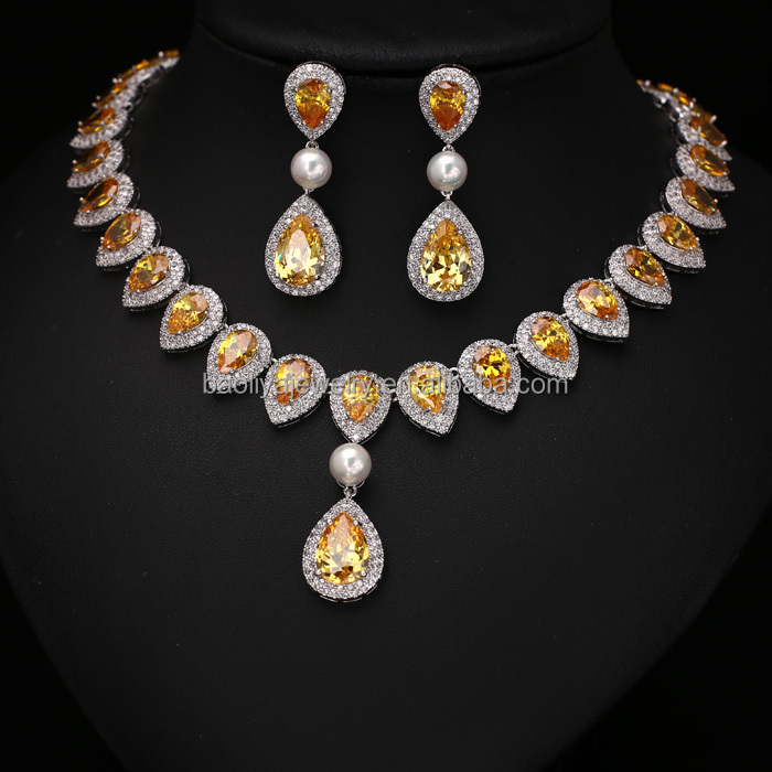 Wholesale Platinum Plated Yellow Teardrop AAA+ Cubic Zirconia Diamond Drop Jewelry Set For Wedding