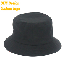Custom Modern 100% polyester Plastic Closure two- side flexfit batch Black Hip-Hop bucket hat for small heads