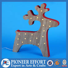 wooden christmas deer table decoration with LED Light