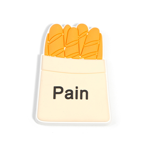 "PVC Fridge Magnet Bread Multicolor Message "" Pain "" Custom Shape Fridge Magnet For Decorate"