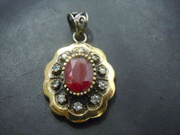 Silver Plated Old Tribal Red Corundum Ruby Gemstone Pendent Whoesale Price