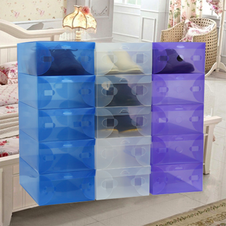 Colorful transparent PP drawer women shoes storage boxes