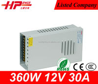 CE RoHS high power AC to DC constant voltage single output rainproof switch 360watt 30a 12volt dc outdoor power supply