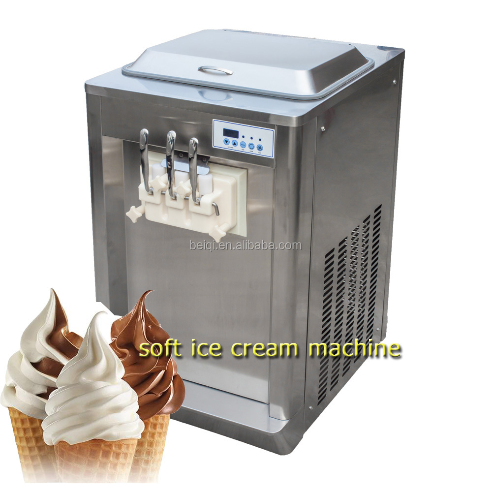 Commercial Table Top Soft Serve Ice Cream Maker Making Machine Frozen Yogurt Machine 2+1 Mixed Flavor 19-23L/Hour