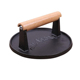 China Supplier FDA Approved Non-stick Handle Round Cast Iron Meat Burger grill press