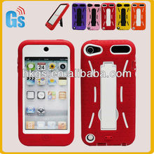 For APPLE iPod Touch 5 5TH Gen Rugged Impact Hard Soft Case Cover Red&White Stand